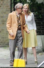 Johansson y Allen en el rodaje de Scoop
